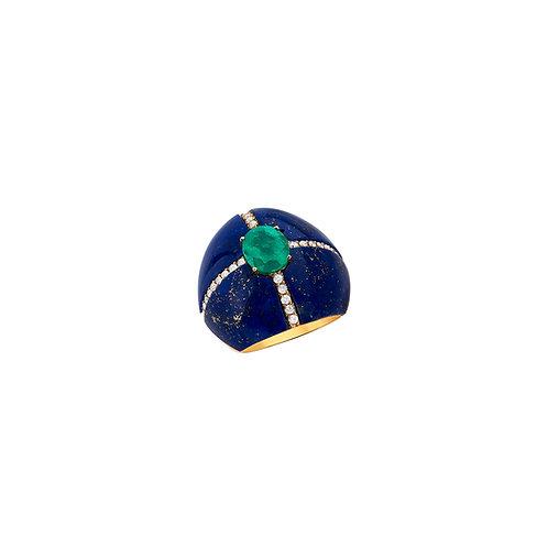 Anel de esmeralda com brilhantes e lapis lazuli