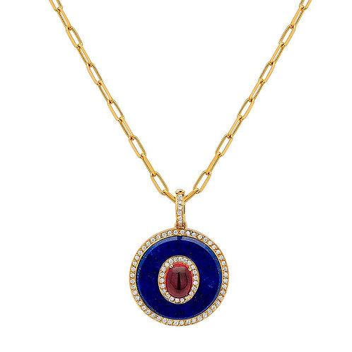 Corrente cartier alongada com pingente de lapis lazuli lapidado; rubilita cabouc