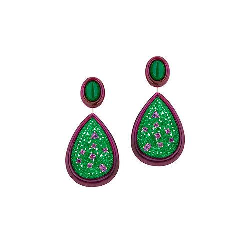 Brinco de jade com tsavoritas e esmalte roxo