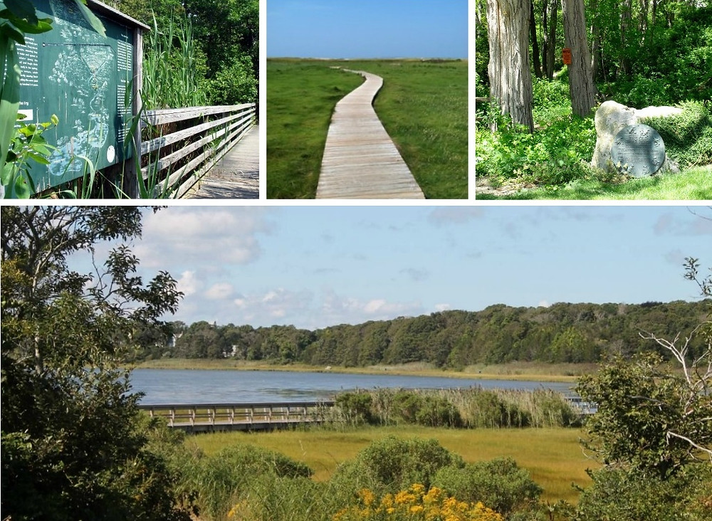 Clockwise from upper left: Cape Cod Museum of Natural History, Wellfleet Bay Wildlife Sanctuary, Green Briar Nature Center, Cape Cod National Seashore.
