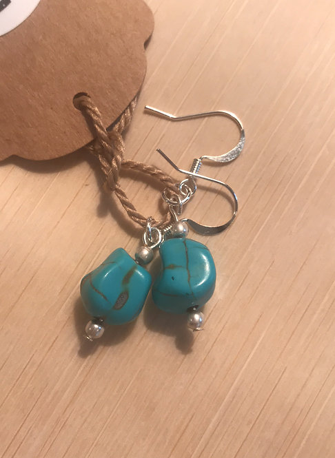 Turquoise bead earrings Item #177