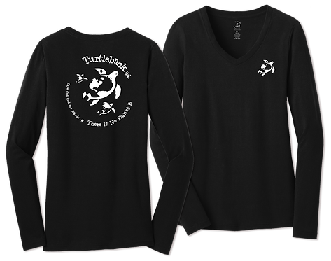 Women's V Long-Sleeved Black: There Is No Planet B