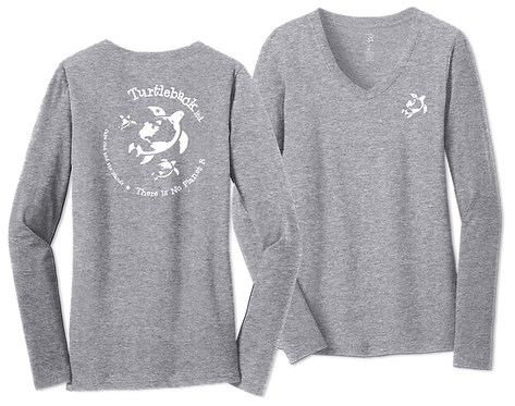 Women's V Long-Sleeved Gray: There Is No Planet B