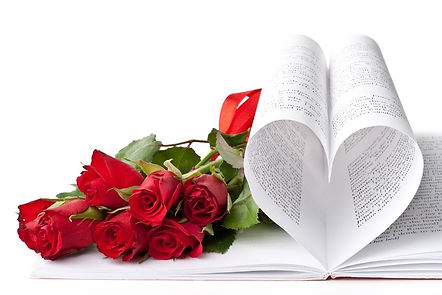 Several Open Books with red roses