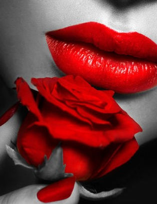 red rose with red lips