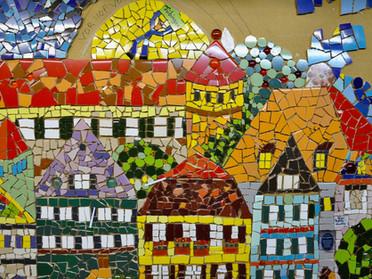 Tübinger Stadtansicht mit OB Palmer auf dem Schlossdach