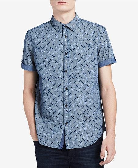 Camisa Calvin Klein Herringbone Roll-Tab