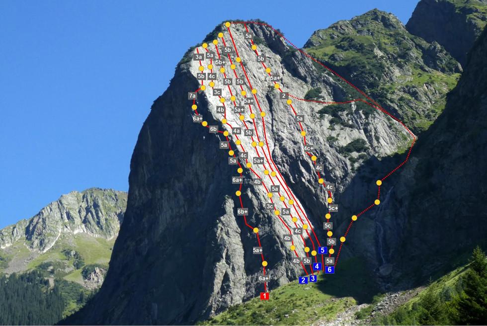 Mittagflue, Klettern, Topo