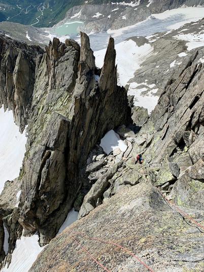 Gross Furkahorn Südostgrat, Gipfel, Abseilen