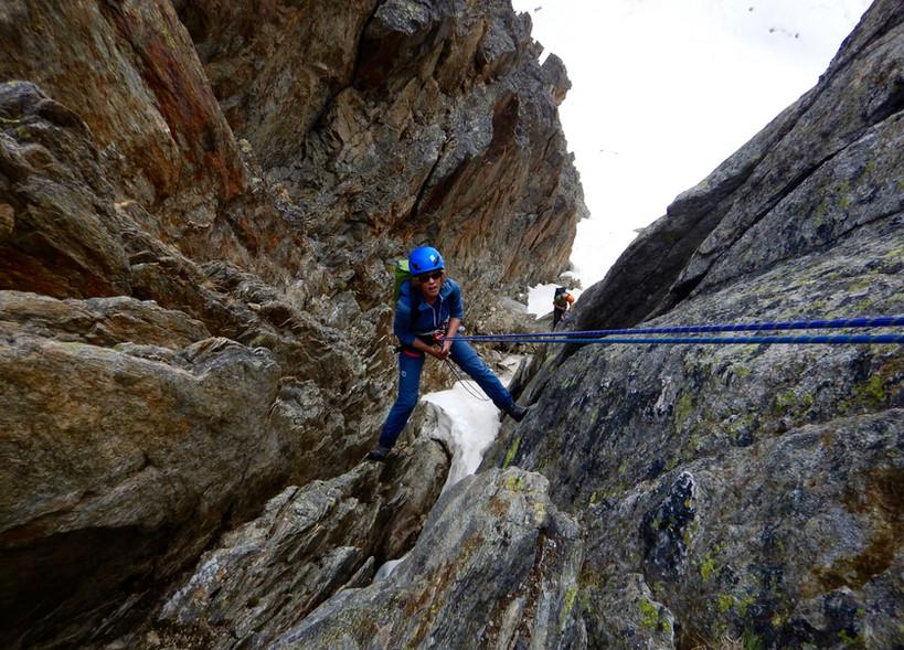 Bergseeschijen Südgrat, Klettern, Bergführer, Abstieg, Westcouloir