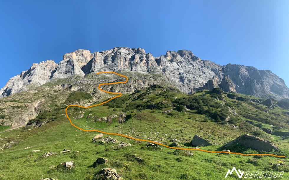 ungefährer Verlauf Zu- & Abstieg Excaliburpfeiler