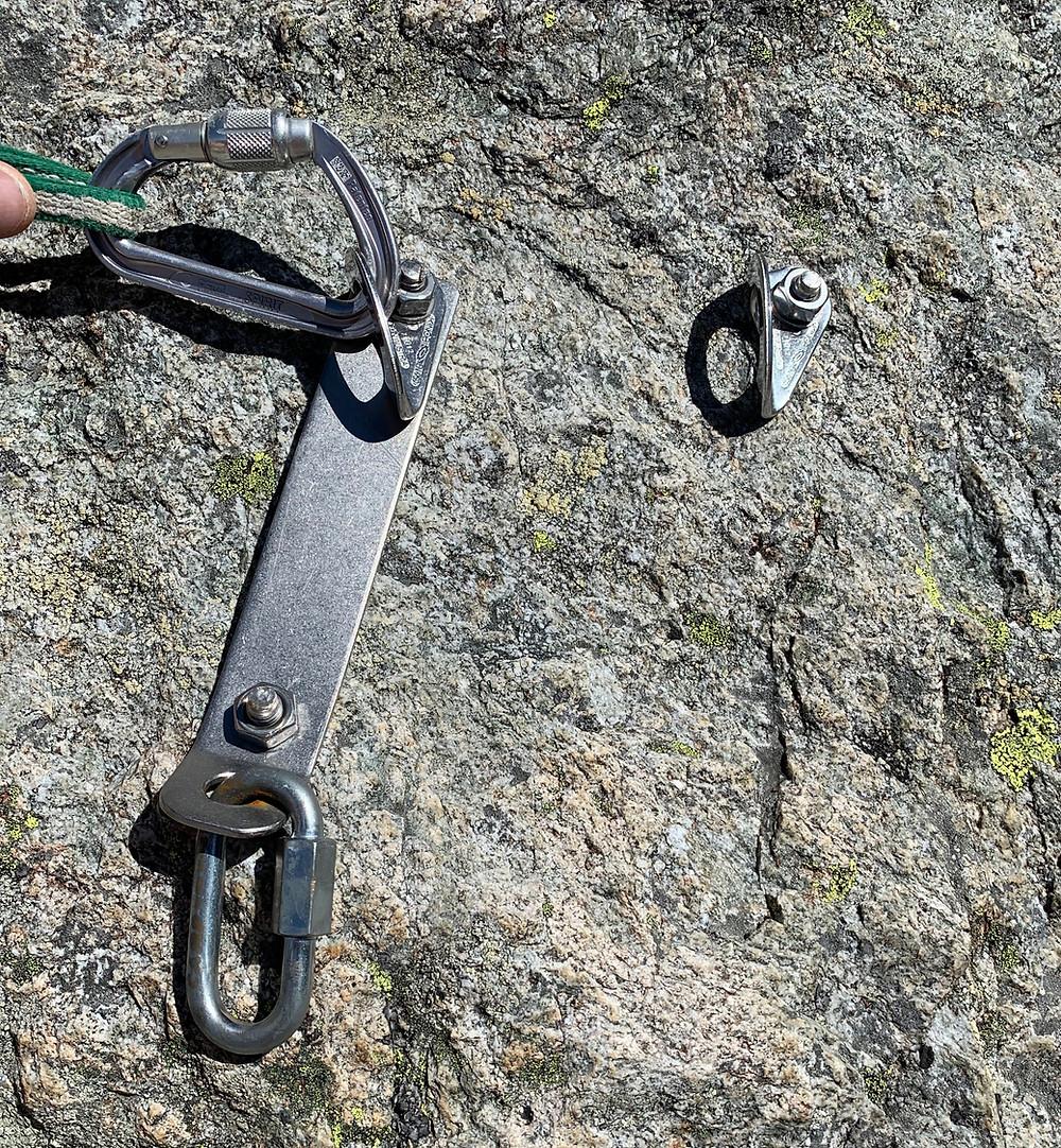 Standplatz in der Klettertour Bohrgeist an den Fünffingerstöck