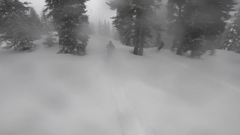 Skitour mit Bergführer von mybergtour bei Nebel