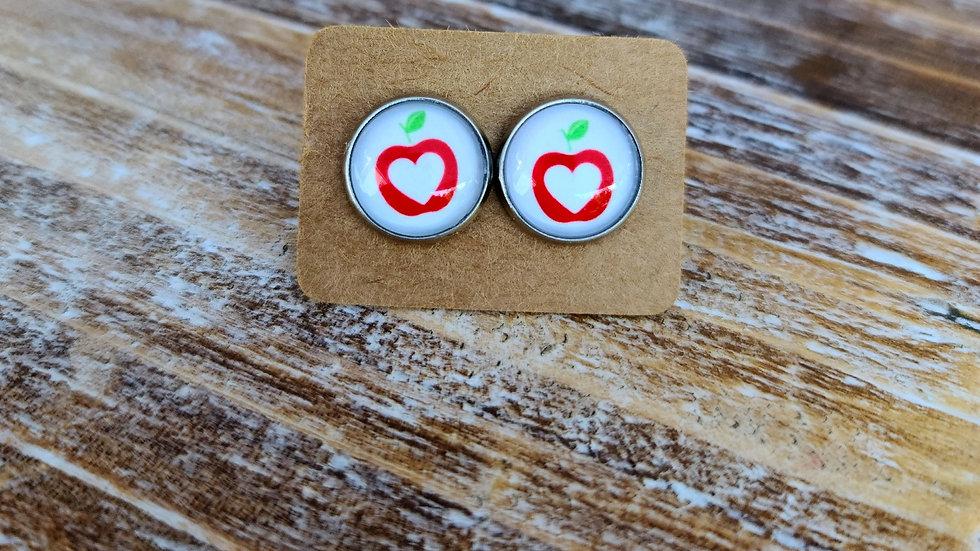 Apple heart studs