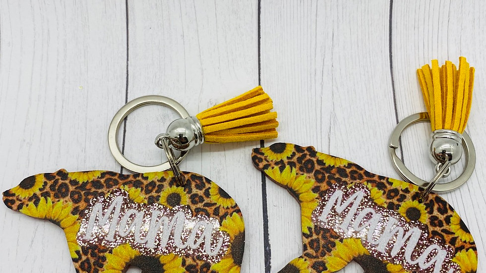Mama Bear Animal Print Keychain