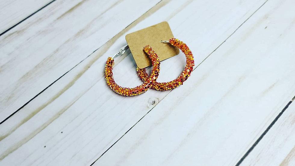 Orange glitter hoops