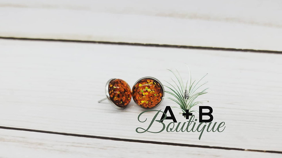 Orange glitter studs