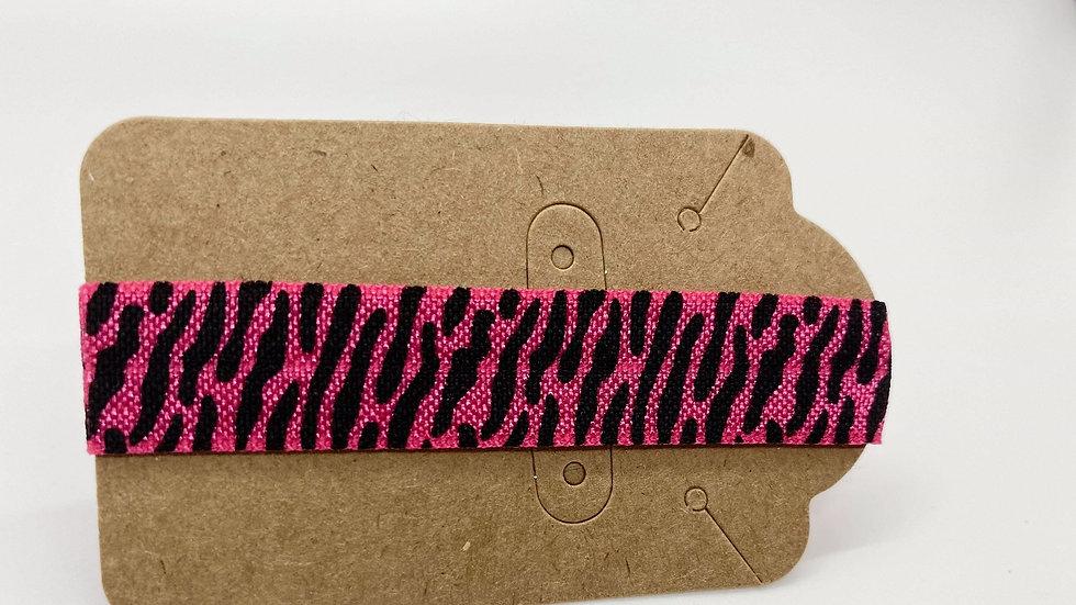Pink zebra hair tie
