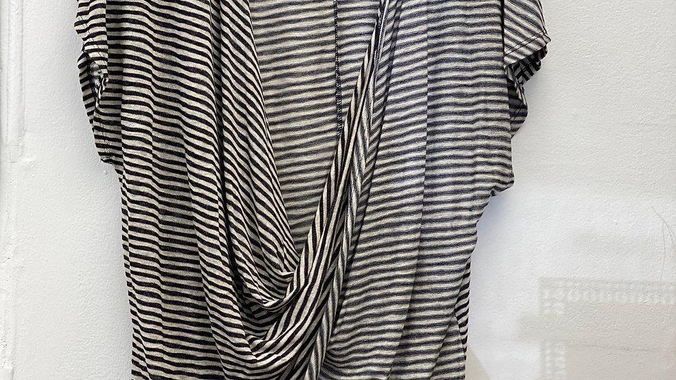 Black Stripe Criss-Cross Top