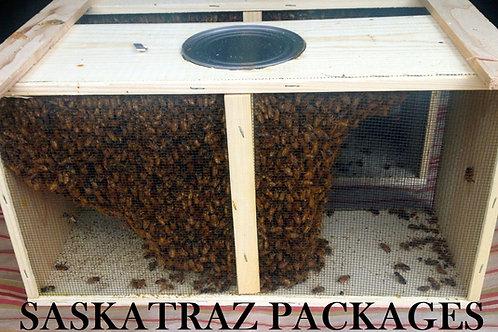 3lb. Package of bees w/Saskatraz queen