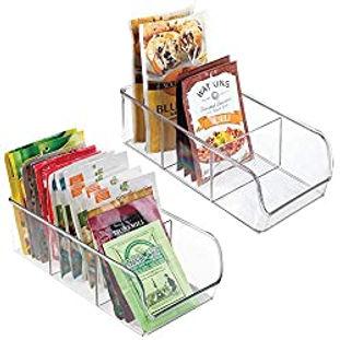 mDesign Plastic Food Packet Kitchen Storage Organizer Bin Caddy