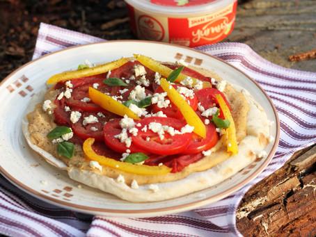 pita pizza with Yummus® Hummus  and mint