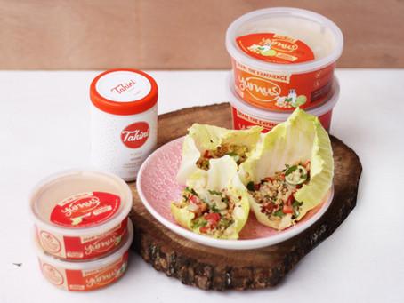 Yummus® hummus, avocado and quinoa lettuce wraps