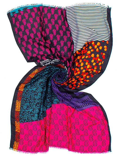 STOLA STAMPA PATCHWORK MULTICOLOR