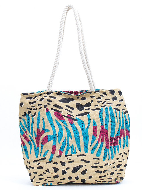 BEACH BAG 100% JUTA STAMPA ANIMAL MULTICOLOR