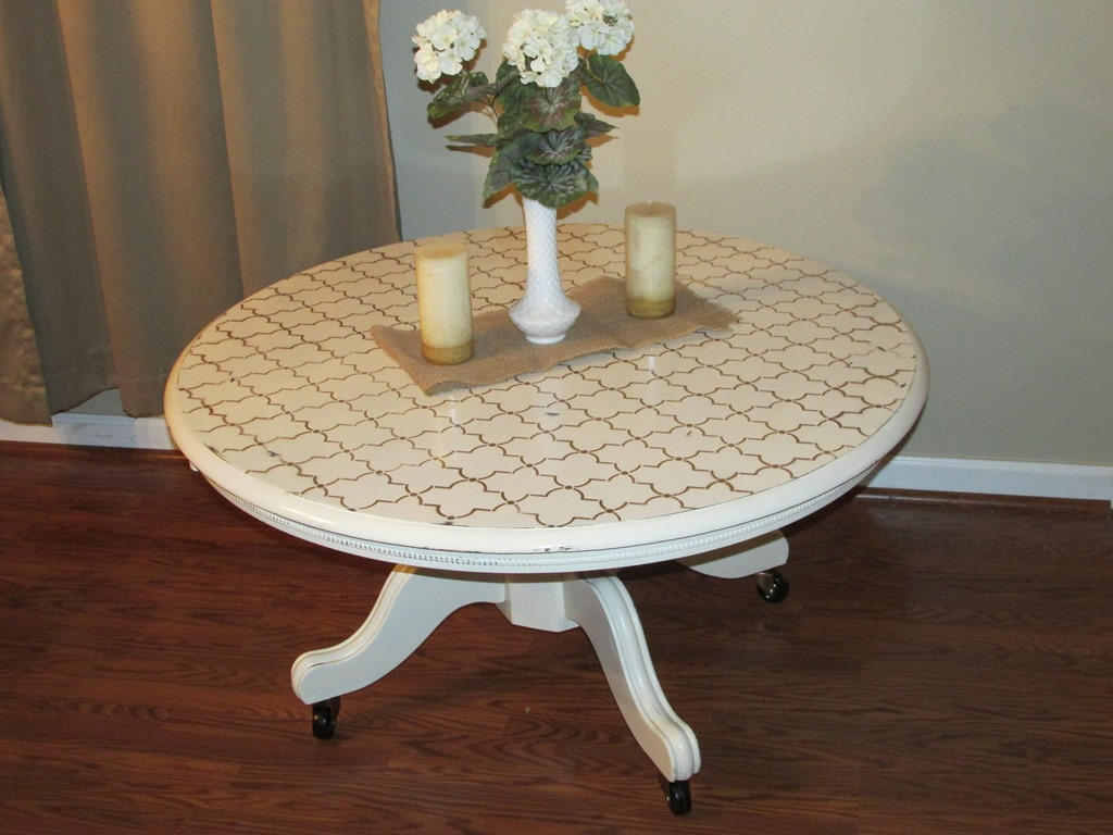 Distressed White Round Coffee Table