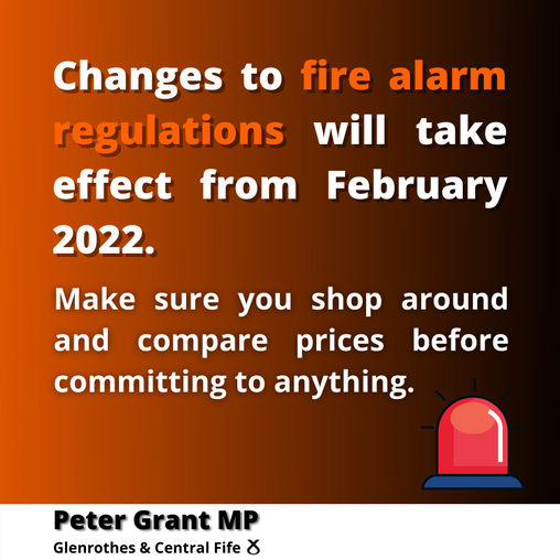 """PETER GRANT MP URGES PEOPLE TO """"SHOP AROUND"""" WHEN UPGRADING THEIR FIRE ALARM SYSTEM"""