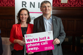 Peter Grant MP meeeting Ellie Southwood from RNIB