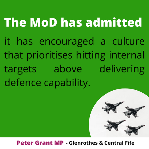 """PETER GRANT MP BLASTS DECADES OF MOD FAILURE TO """"GET A GRIP"""" ON DELIVERING KEY DEFENCE CAPABILITIES"""