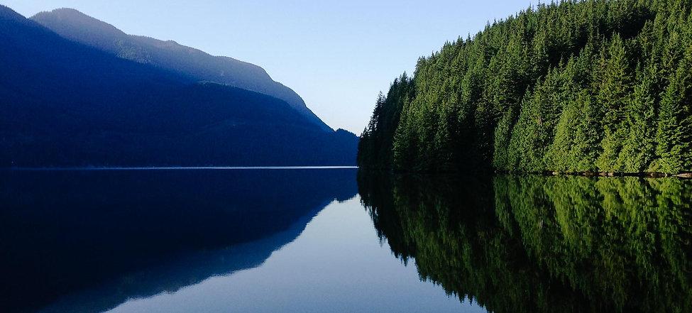 British Columbia, mountains, ocean view, nature, stillwater, morning sun, green, blue