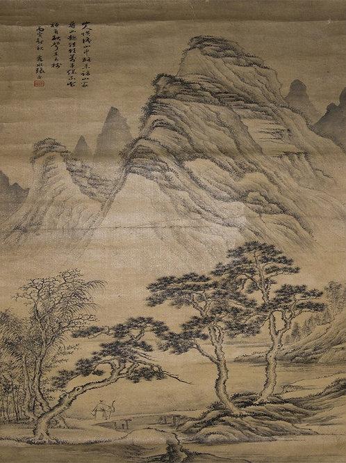 Zhang Geng Qing Dynasty Visiting Hanging Scroll