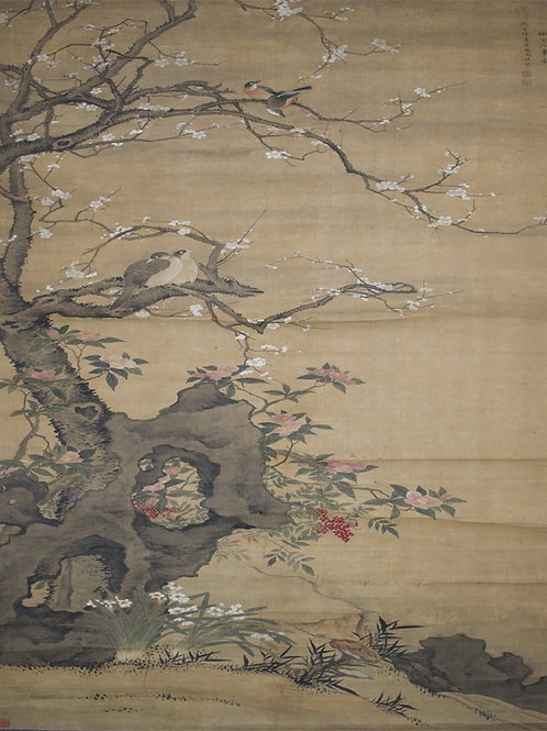 Zhou Li Birds on Twig Hanging Scroll