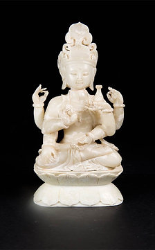 A Fine Jade Figure of a Six-Armed Guanyin