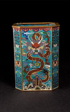 Qing, Cloisonné Dragon Vase