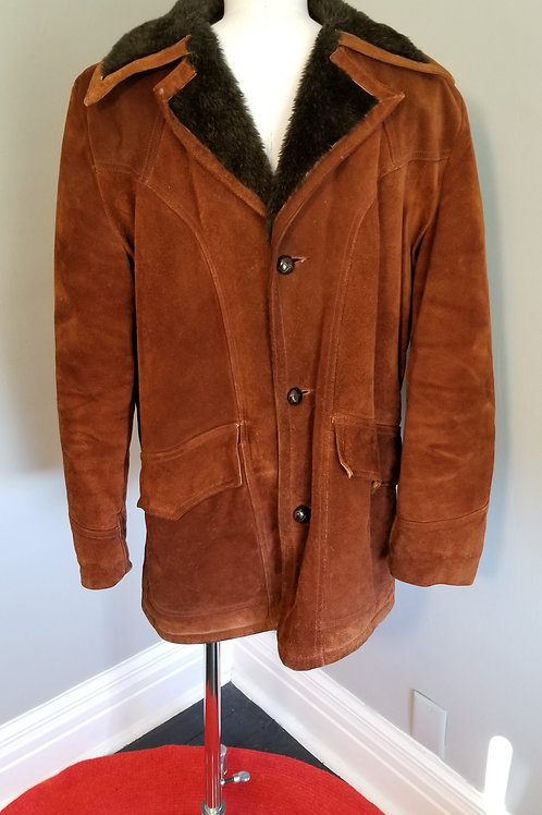 70s Men's Suede Coat with Faux Fur Lining - L 42Tall