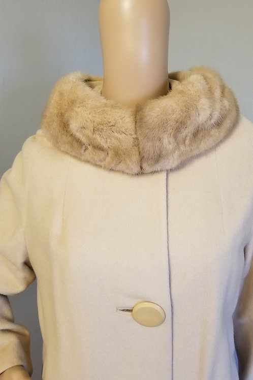 60's Cream Cashmere Coat with Mink Collar - M