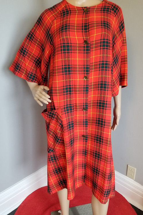 60's Plaid Robe in Red, Gold and Green - M/L