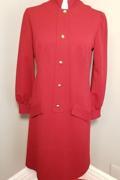 70s Deep Red Sheath Dress - M