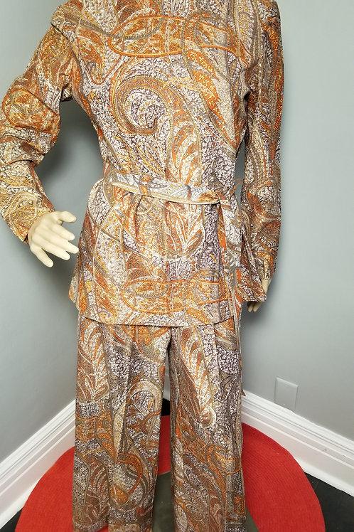 70s Classic Morro Bay Paisley Palazzo Pant Suit - M