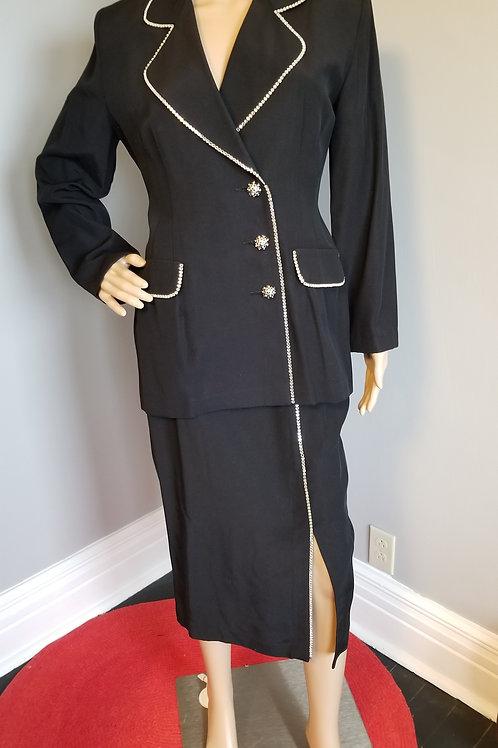 80's Joseph Ribkoff Rhinestone Embellished Black Suit - S