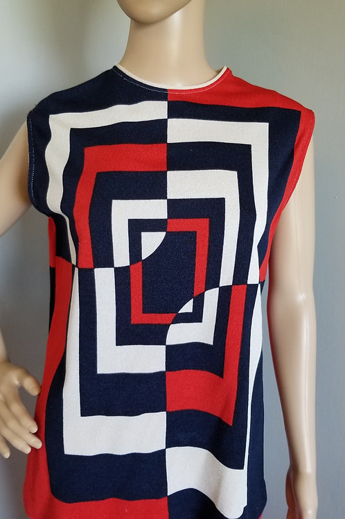 70's Abstract Color Block Sleeveless Top. - ML
