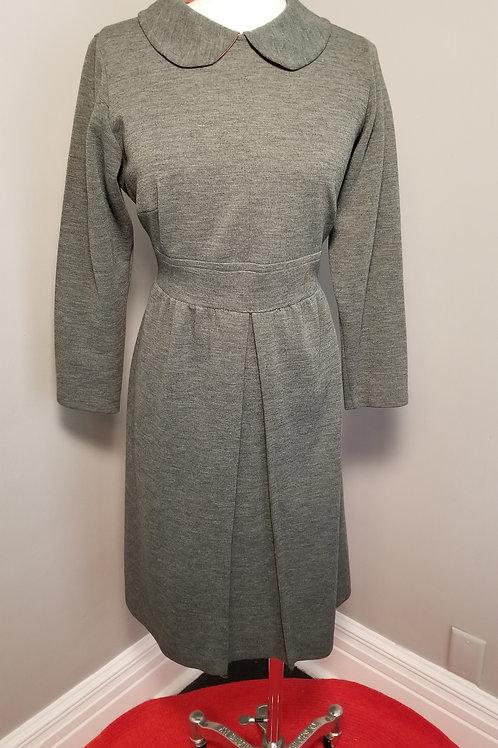 60s Grey Double Knit Dress - L