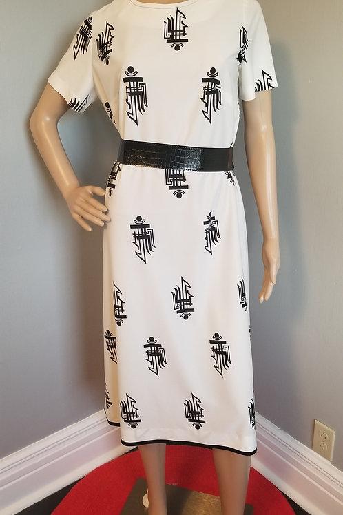 70's White with Black Design Shift Dress - M/L