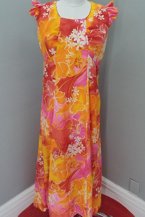 70s Hukilau Fashions Hawaiian Dress - M