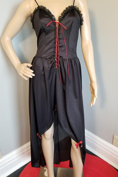 70's Lady Carol Cameo of Dallas, Black Hi-Lo Corset Gown - L +