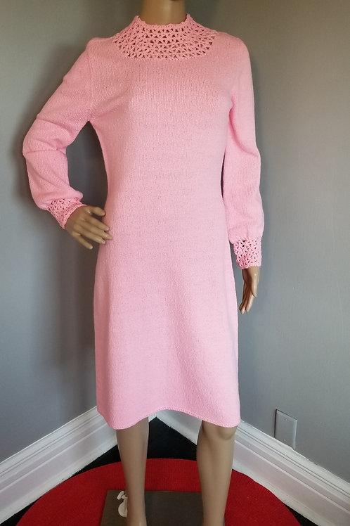 60s Miss Marco Bubblegum Pink Knit Dress - S